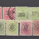 Romania 1918 Carol I Tipografiate supratip 16 timbre St si Nestamp - Timbre Romania, Oameni, Nestampilat