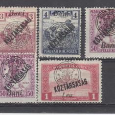 Romania 1919 Emisiunea Oradea KOSTARSASAG 5 VALORI - Timbre Romania, Oameni, Nestampilat