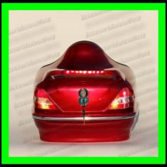 Topcase Moto LED tip Mercedes Portbagaj Cutie Casca Moto Scuter Atv - ROSU - Top case - cutii Moto