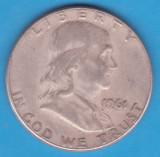 (1) MONEDA DIN ARGINT SUA - HALF DOLLAR 1961, FARA LITERA, BEN FRANKLIN, America de Nord
