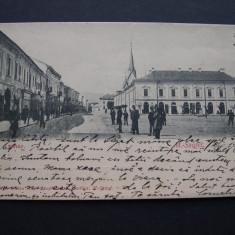 Sighetul Marmatiei - Piata Centrala. Circulata 1902, animata, nedivizata - Carte Postala Maramures pana la 1904, Printata