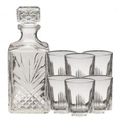 Set 6 pahare 280 ml cristal whisky+1 sticla cristal 1L Selecta Bormioli Rocco, 7 piese, Transparent