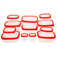 Set cutii alimentare EH, 24 piese, plastic, Rosu - Caserola