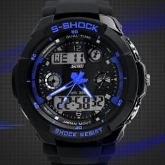 Ceas SKMEI S-Shock rezistent la apa alarma calendar cronometru - Ceas barbatesc, Sport, Quartz, Analog & digital, Diametru carcasa: 45, 30 m / 3 ATM