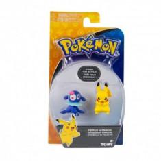 Pokemon Popplop vs Pikachu, minifigurine 6 cm - Figurina Desene animate