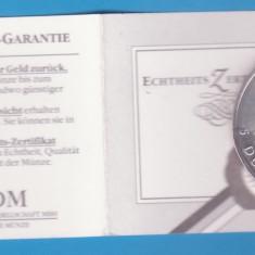 (1) MONEDA DIN ARGINT CANADA - 5 DOLLARS 1989, CU CERTIFICAT, 1 UNCIE DE ARGINT, America de Nord