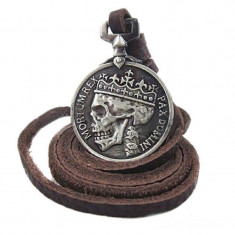 Medalion / Pandantiv / Colier / Lantisor - Piele-   Vintage -  Craniu