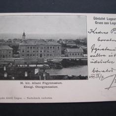 Lugoj - Gimnaziul. Circulata 1899, nedivizata, clasica - Carte Postala Banat pana la 1904, Printata