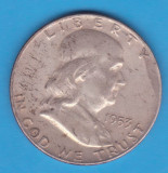 (1) MONEDA DIN ARGINT SUA - HALF DOLLAR 1953, LIT. D, BEN FRANKLIN, America de Nord