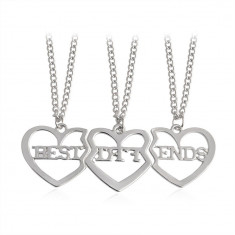 Pandantiv / Colier / Lantisor - SET BFF Best Friends - 3 bucati  - Argintiu
