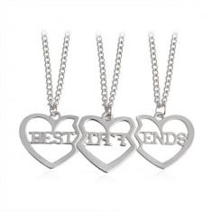 Pandantiv / Colier / Lantisor - BFF Best Friends - 3 bucati / Set - Argintiu - Pandantiv fashion