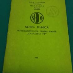 NOTIȚĂ TEHNICĂ MOTOCOSITOAREA PENTRU PANTE CARPATINA MP/1983