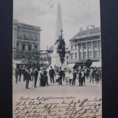 Arad - Statuia Sfanta Treime. Circulata 1901, nedivizata, animata - Carte Postala Banat pana la 1904, Fotografie