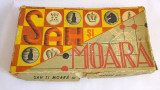 Joc romanesc Sah si Moara vechi vintage, carton cu piese de plastic