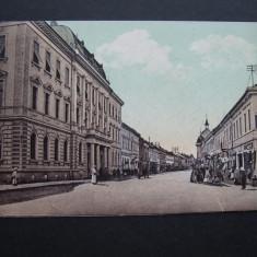 Sighetul  Marmatiei  -  Calea Transilvania si Tribunalul.Circulata 1913, animata, Printata