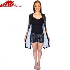 Pijama Dama cu Capot, Maieu si Pantalon Scurt, Model Black Is New Trend,Cod 1311