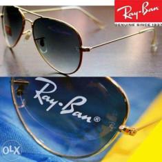 Ray Ban Ochelari Aviator cu serie, Lentila Albastra Rama Aurie gravata - Ochelari de soare Ray Ban