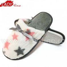 Papuci de Casa cu Blanita, Model Stars White Sky, Culoare Alb, Papuci Interior (Culori: Alb, Marimi: 35-36) - Papuci dama