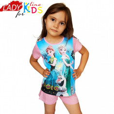 Pijama Fete, Marimi Disponibile in Descriere, Model Anna, Elsa & Olaf, Cod 1336, Marime: One size, Culoare: Albastru
