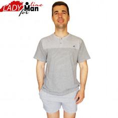 Pijamale Barbati Din Bumbac Obtinut Din Fibre Naturale, Model Navy Gray, Cod 1331, Marime: L, XL, XXL, Culoare: Gri