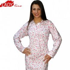 Camasa de Noapte, Bumbac 100%, Model Red Flowers, Pamuklu Lingerie, Cod 326, Marime: L, XL, Culoare: Alb