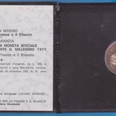 MONEDA DIN ARGINT SAN MARINO - 500 LIRE 1975 COMEMORATIVA, Europa