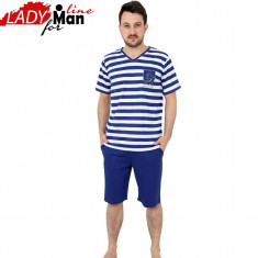 Pijama Barbati Maneca/Pantalon Scurt, Bumbac 100%, Model Navy, Cod 1189 - Pijamale barbati, Marime: S, M, L, Culoare: Albastru