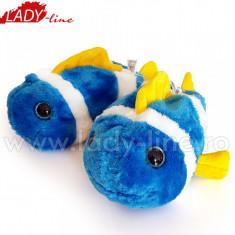 Papuci de Casa Caldurosi, Model 'Blue Fish', Culoare Albastru, Papuci Interior, Marime 27-28 (Culori: Portocaliu, Marimi: 27-28)