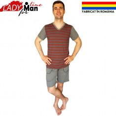 Pijamale Barbati Din Bumbac Fabricate in Romania, Model Feel Basic, Cod 1321, Marime: S, Culoare: Visiniu