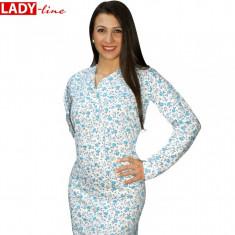 Camasa de Noapte cu Maneca Lunga, Model Blue Flowers, Cod 325, Marime: L, XL, Culoare: Alb