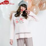 Pijama Dama Groasa, Bumbac Interlock 100%, Model La Vie En Rose, Cod 1018
