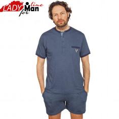 Pijama Barbati Din Bumbac Obtinut Din Fibre Naturale, Model Deep Sea, Cod 1232 - Pijamale barbati, Marime: M, L, Culoare: Albastru