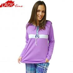 Pijama Dama Maneca si Pantalon Lung, Bumbac 100%, Model Beauty Lilac, Cod 1097