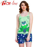 Pijama Dama cu Maieu si Pantalon Scurt, Bumbac 100%, Model Kiss Me, Cod 1347, L, S, Verde