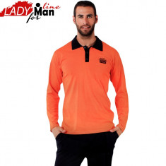 Pijama Barbati Maneca/Pantalon Lung, Bumbac 100%, Model Let's Play, Cod 1041 - Pijamale barbati, Marime: XL, Culoare: Orange