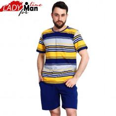Pijama Barbati Maneca/Pantalon Scurt, Bumbac 100%, Gazzaz by Vienetta, Cod 1276