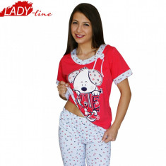 Pijamale Dama cu Maneca Scurta si Pantalon 3/4, Producator Baki, Cod 416, Marime: S, Culoare: Rosu