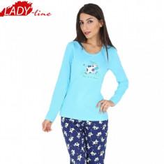 Pijama Dama Maneca/Pantalon Lung Vienetta, Bumbac 100%, Model Moody. Cod 501