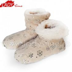 Papuci de Casa Caldurosi Tip Cizmulite 'Cream & Flakes', Culoare Crem, Papuci Interior (Culori: Crem, Marimi: 35-38) - Papuci dama