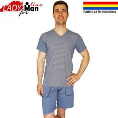Pijama Barbati Din Bumbac, Fabricat In Romania, Model Basic Gray, Cod 1320 - Pijamale barbati, Marime: XS, S, Culoare: Gri