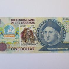 Rar! Bahamas 1 Dollar 1992 UNC comemorativ Cr.Colombo, cu timbru si stampila - bancnota america