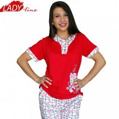 Pijamale Dama Maneca Scurta si Pantalon 3/4, Brand Baki, Cod 414, Marime: S, L, Culoare: Rosu