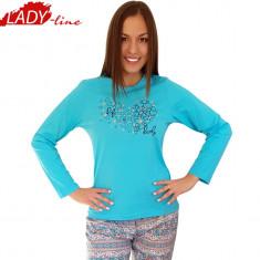 Pijama Dama Maneca/Pantalon Lung, Bumbac 100%, Model Life Is Lovely, Cod 928 - Pijamale dama, Marime: L, Culoare: Albastru