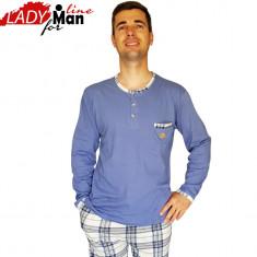 Pijamale Barbati Din Bumbac Natural 100%, Model Statute, Cod 1329