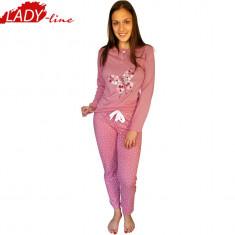 Pijama Dama cu Maneca si Pantalon Lung, Model Fashion Pink, Cod 1219