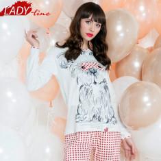 Pijama Dama Iarna, Bumbac Interlock 100%, Model Best Friend Love, Cod 1011