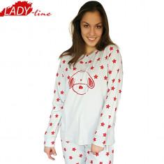 Pijama Dama Iarna, Bumbac Interlock 100%, Model Stars & Puppies, Cod 1079