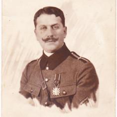 Bnk foto - Ofiter roman decorat cu Coroana Romaniei in grad de ofiter, WW I - Fotografie, Alb-Negru, Militar, Romania 1900 - 1950