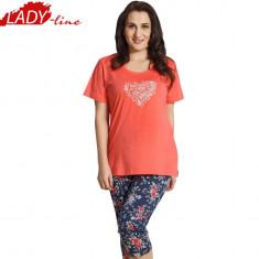 Pijama Dama Maneca Scurta/Pantalon 3/4, Bumbac 100%, Brand Vienetta, Cod 1158 - Pijamale dama, Marime: XXXL, Culoare: Corai