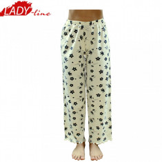 Pantaloni Pijamale Dama, Model Black Flowers, Bumbac 100%, Cod 548, Marime: S, Culoare: Galben